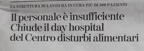 PETIZIONE DI SENSIBILIZZAZIONE PER SOLLECITARE LA RIAPERTURA DEL DAY HOSPITAL DEL CENTRO DCA DI LANZO